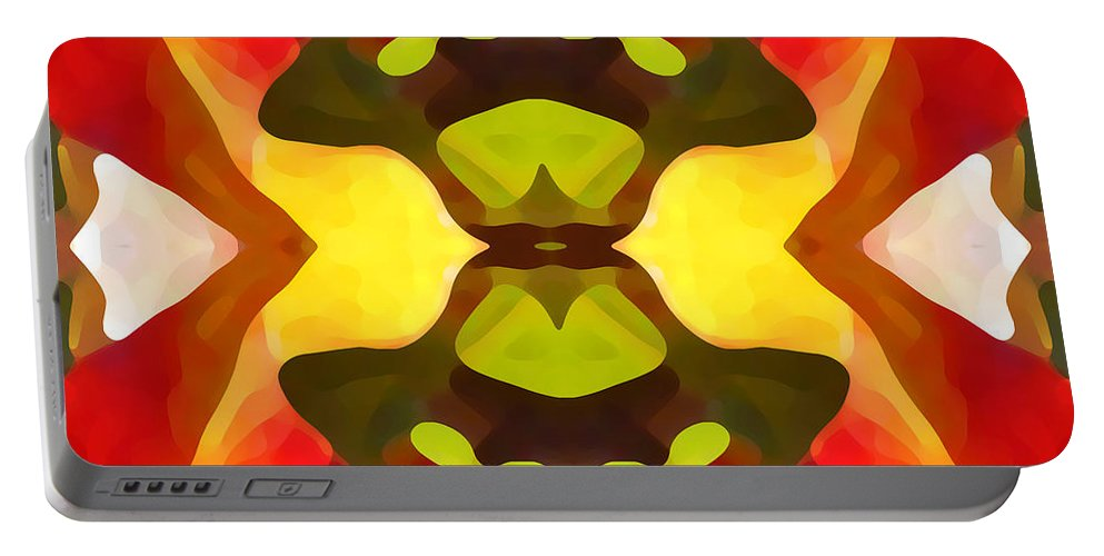 Abstract Portable Battery Charger featuring the painting Tropical Leaf Pattern 1 by Amy Vangsgard