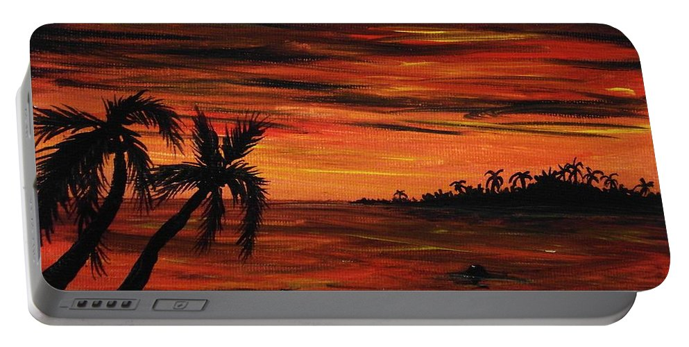 Malakhova Portable Battery Charger featuring the painting Tropical Night by Anastasiya Malakhova