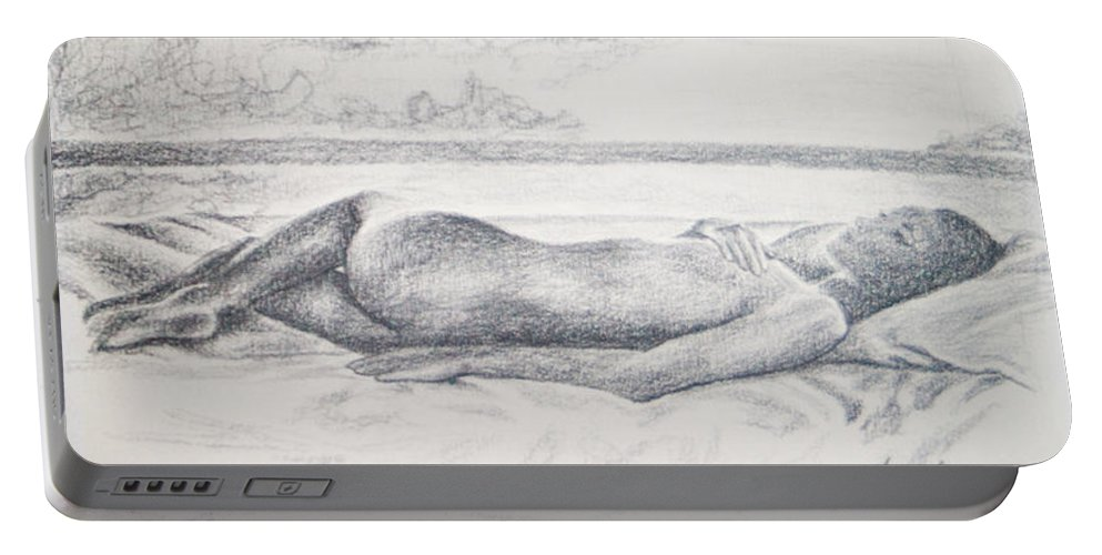 Black-and-white Portable Battery Charger featuring the drawing Tropical Nude by Carolyn Osborne