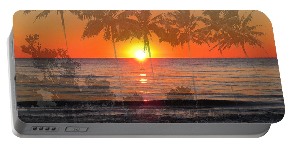 Beach Portable Battery Charger featuring the painting Tropical Spirits - Palm Tree Art By Sharon Cummings by Sharon Cummings