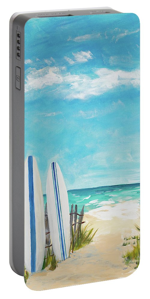 Tropical Portable Battery Charger featuring the digital art Tropical Surf II by Julie Derice