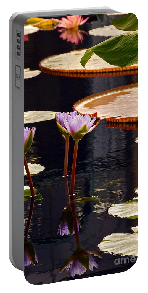 Tropical Waterlilies And Pads In Dark Water Portable Battery Charger featuring the photograph Tropical Waters Floral Charm by Byron Varvarigos