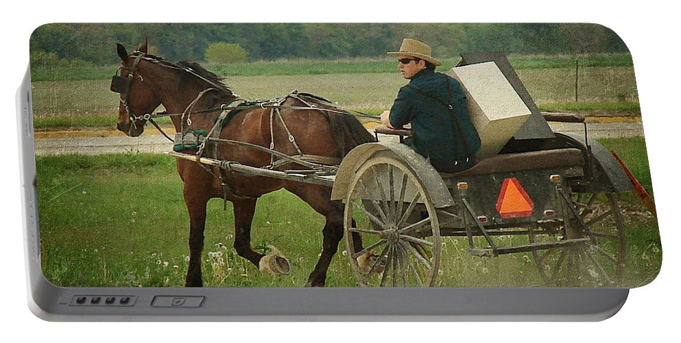 Amish Portable Battery Charger featuring the photograph Trot On by Cassie Peters