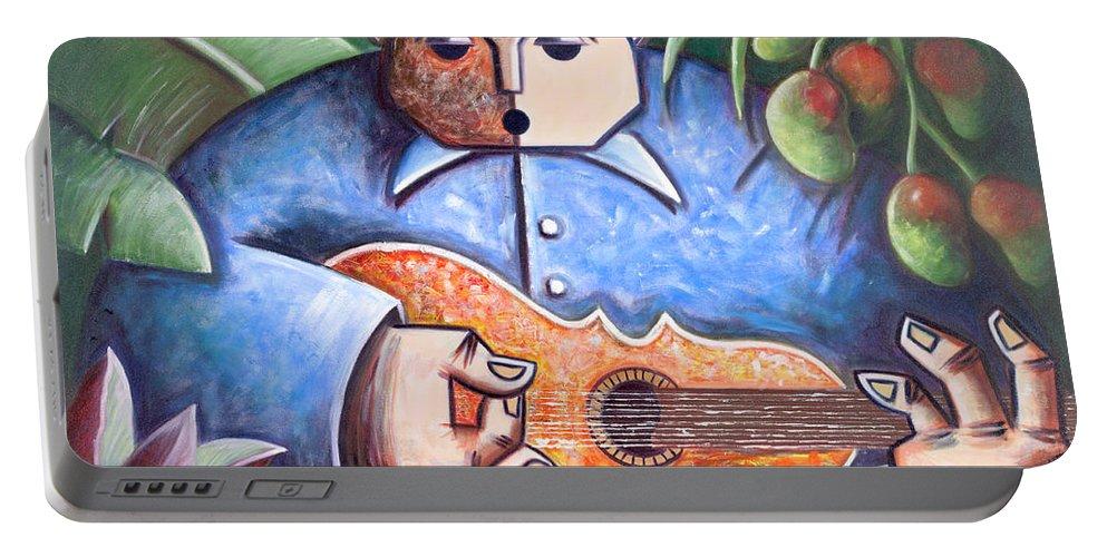 Puerto Rico Portable Battery Charger featuring the painting Trovador de mango bajito by Oscar Ortiz