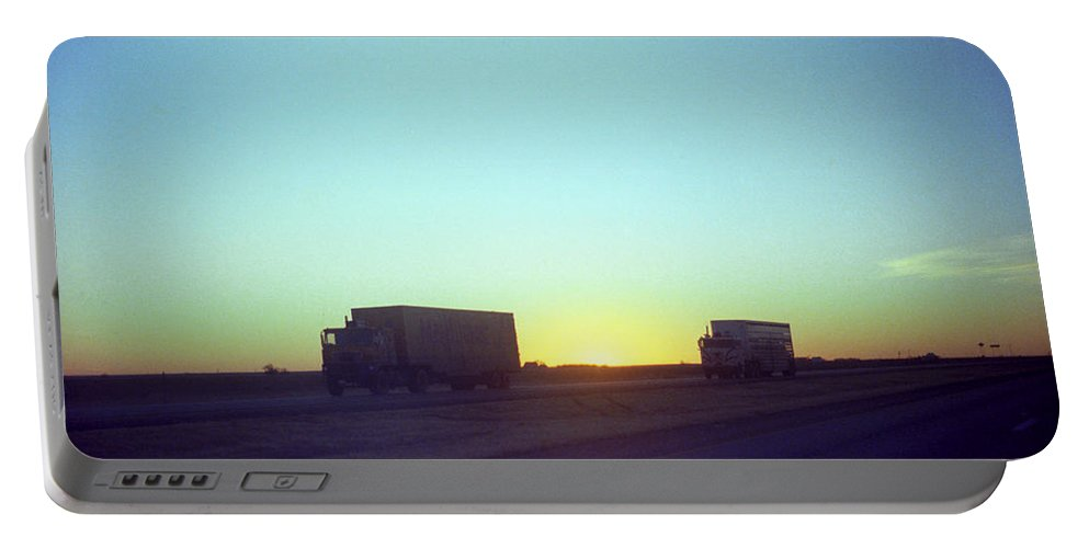 Adventure Portable Battery Charger featuring the photograph Trucker Sunset by Frank Romeo