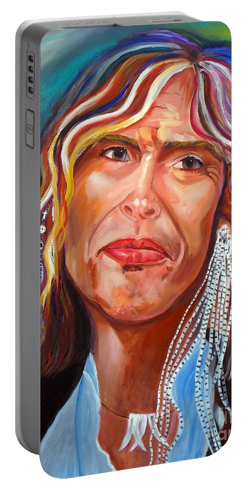 Steven Tyler Portable Battery Charger featuring the painting True Colors by To-Tam Gerwe