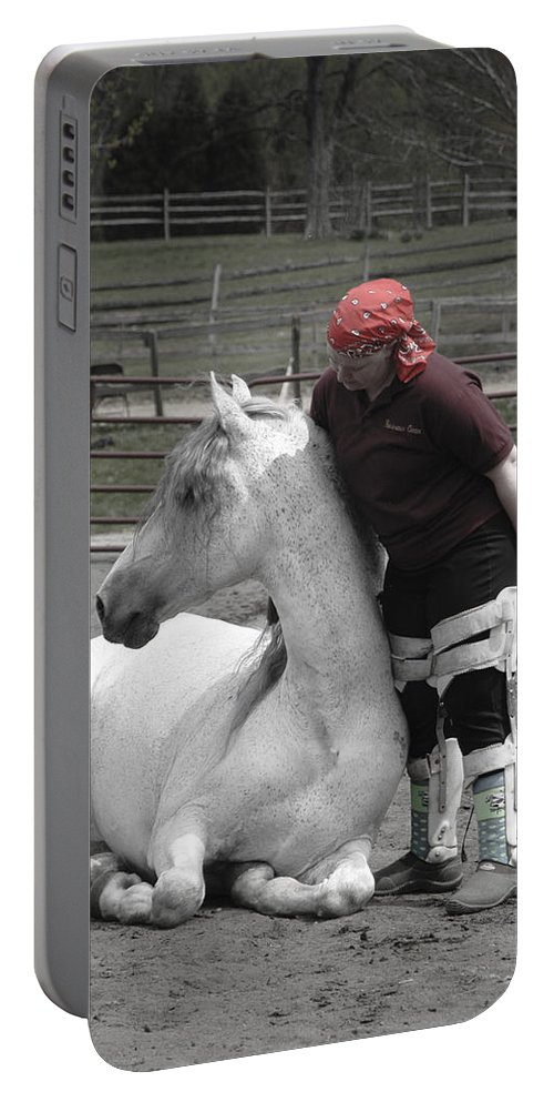 Horse Portable Battery Charger featuring the digital art True Love by Laurietta Oakleaf