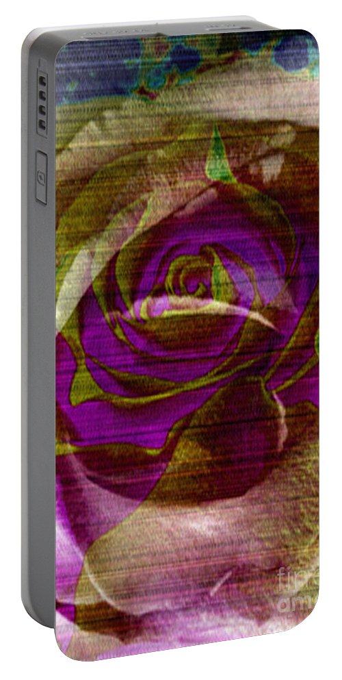 Digital Art Flower Portable Battery Charger featuring the digital art True Love by Yael VanGruber