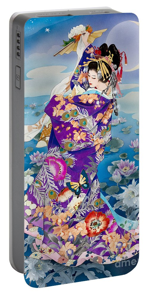 Haruyo Morita Digital Art Portable Battery Charger featuring the digital art Tsuki Hoshi Variant I by MGL Meiklejohn Graphics Licensing