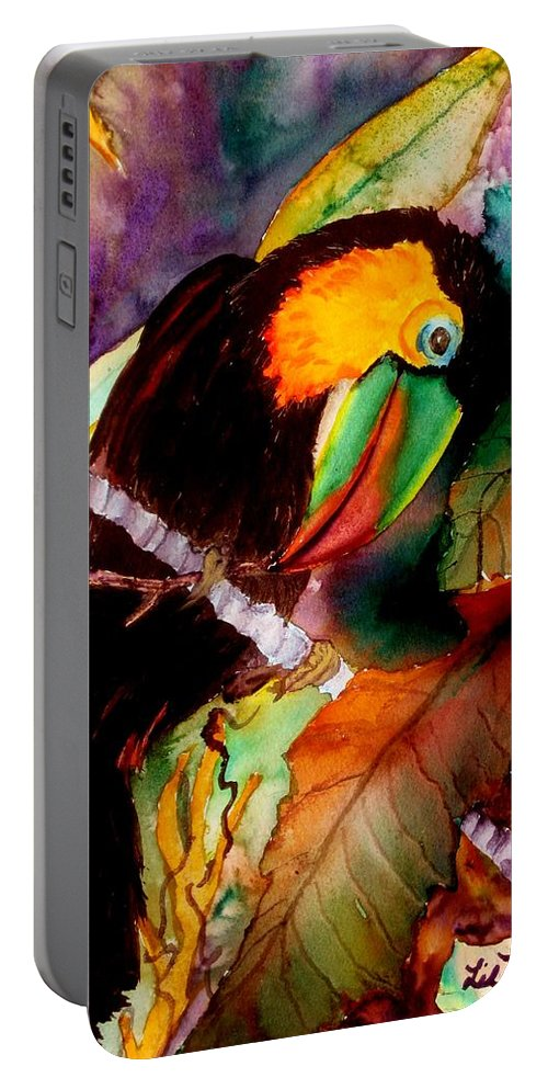 Toucan Portable Battery Charger featuring the painting Tu Can Toucan by Lil Taylor