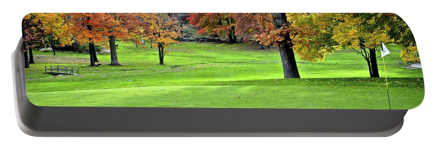 Golf Portable Battery Charger featuring the photograph Tucked Pin by Frozen in Time Fine Art Photography