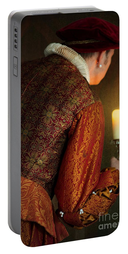Medieval Portable Battery Charger featuring the photograph Tudor Man With Candle by Lee Avison