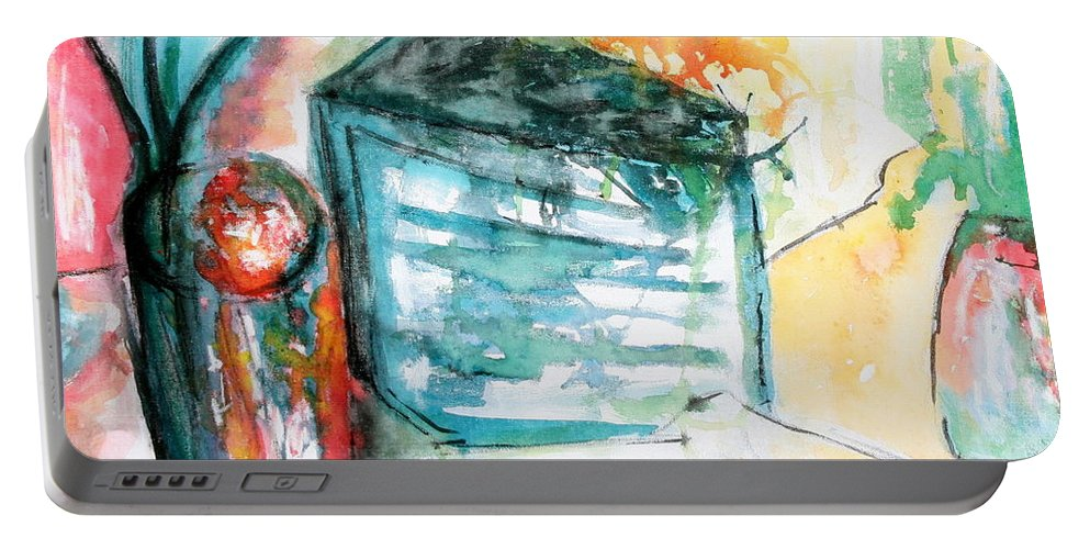 Colorful Portable Battery Charger featuring the painting Tuesday Afternoon by Lyndsey Hatchwell