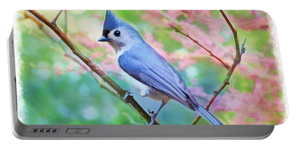 Bird Portable Battery Charger featuring the photograph Tufted Titmouse With Spring Booms - Digital Paint II by Debbie Portwood