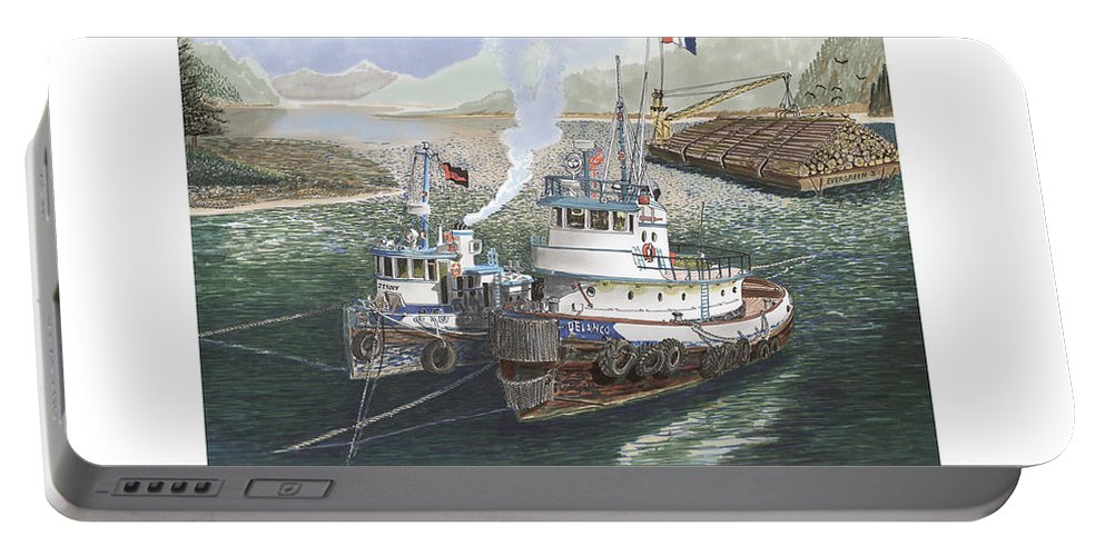 Gale Warning Portable Battery Charger featuring the painting Gale Warning Safe Harbor by Jack Pumphrey