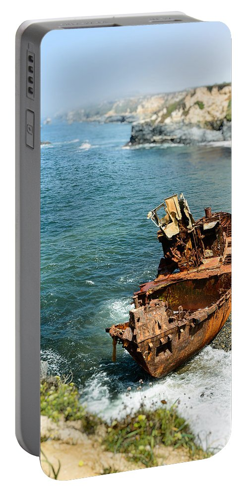 Shipwreck Portable Battery Charger featuring the photograph Tugboat Klemens I by Marco Oliveira