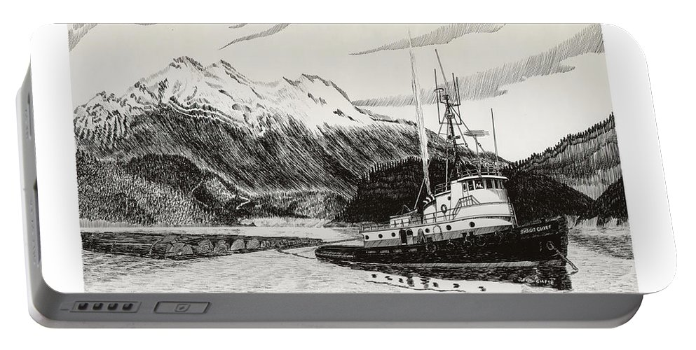 Tugboat Skagit Chief Prints Portable Battery Charger featuring the drawing Skagit Chief Tugboat by Jack Pumphrey