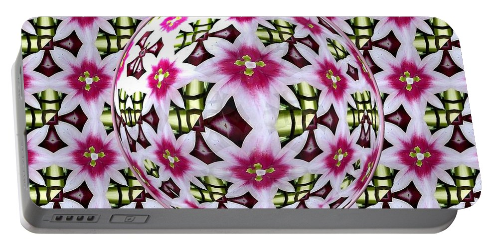 Tulip Portable Battery Charger featuring the photograph Tulip Kaleidoscope Under Glass by Rose Santuci-Sofranko