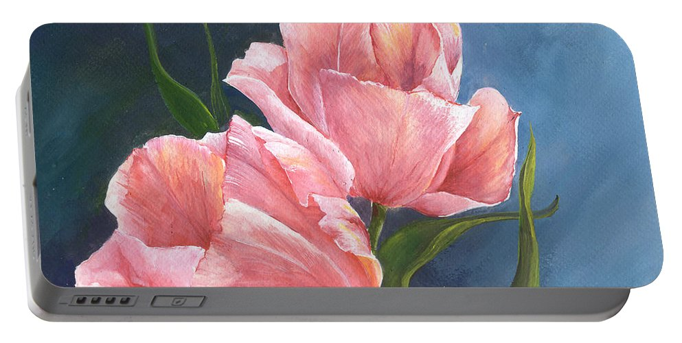 Tulip Portable Battery Charger featuring the painting Tulip Waltz by Sherry Shipley