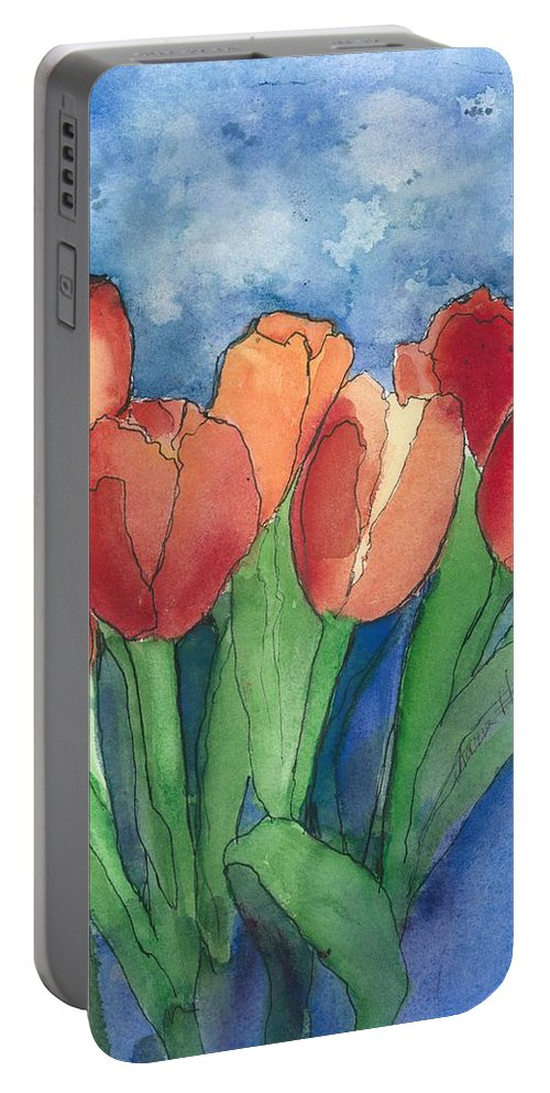 Red And Orange Tulips Portable Battery Charger featuring the painting Tulips After The Rain by Maria Hunt