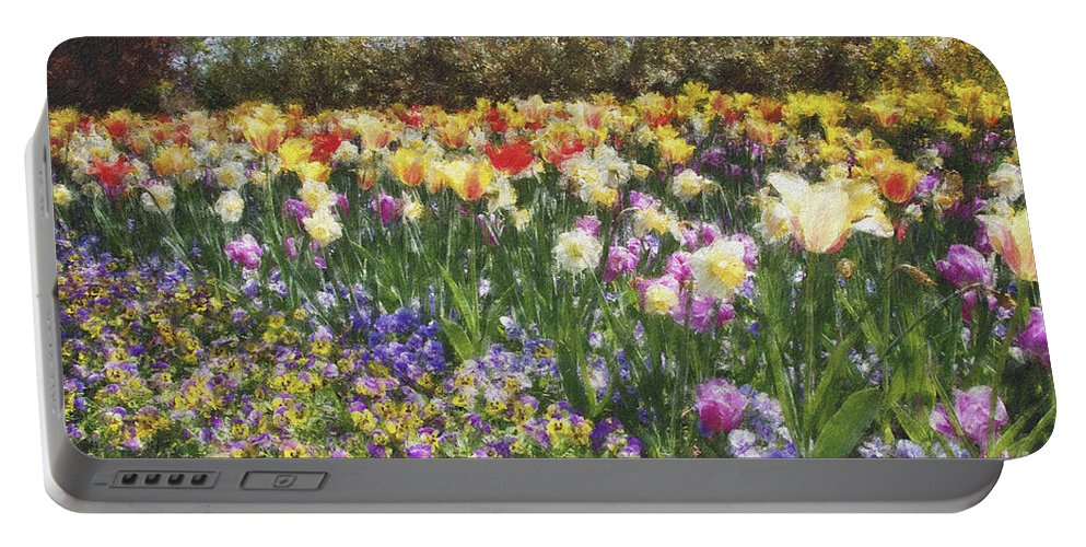 Tulips Portable Battery Charger featuring the photograph Tulips At Dallas Arboretum V33 by Douglas Barnard