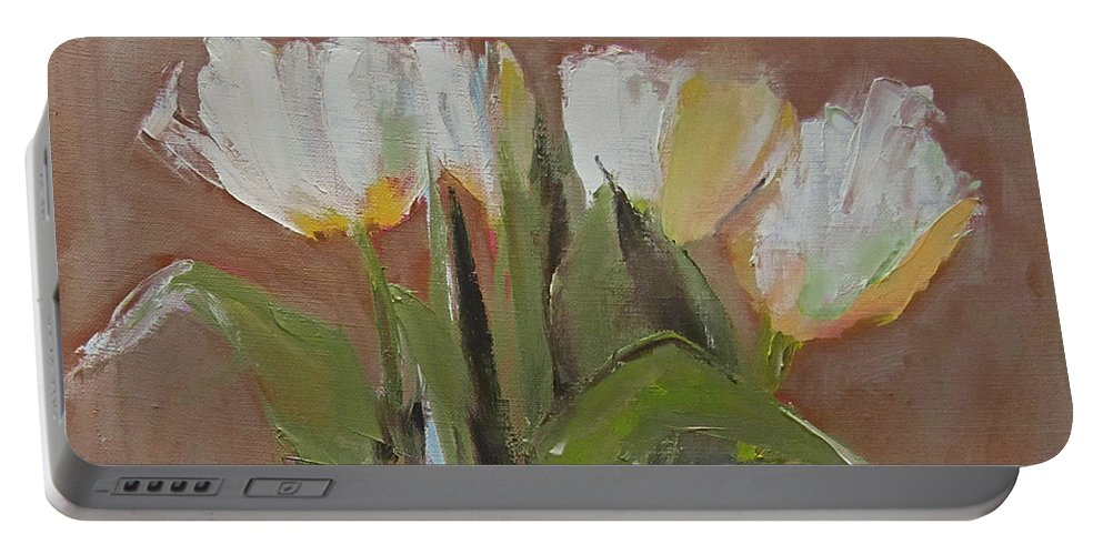 Tulips Portable Battery Charger featuring the painting Tulips by Barbara Andolsek