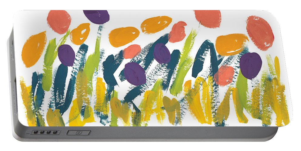 Contemporary Portable Battery Charger featuring the painting Tulips by Bjorn Sjogren
