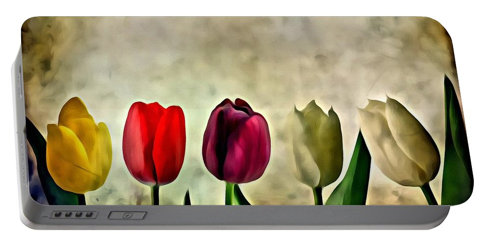 Flower Portable Battery Charger featuring the painting Tulips Color by Florian Rodarte