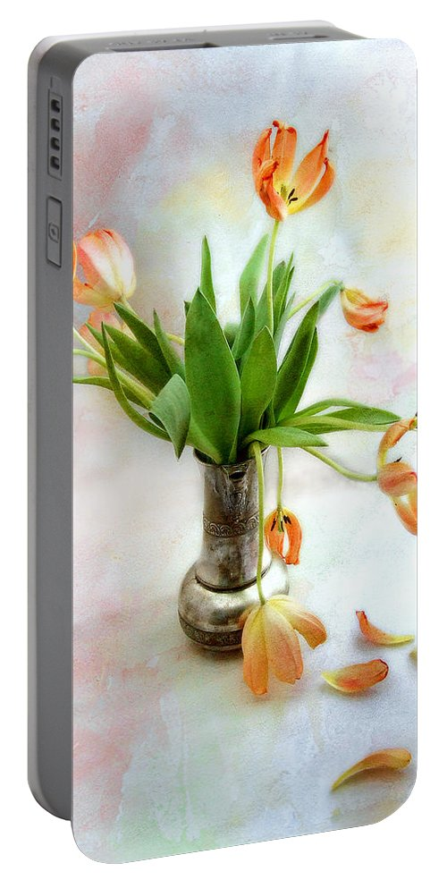 Tulips. Tulip. Flowers Portable Battery Charger featuring the photograph Tulips In An Old Silver Pitcher by Louise Kumpf