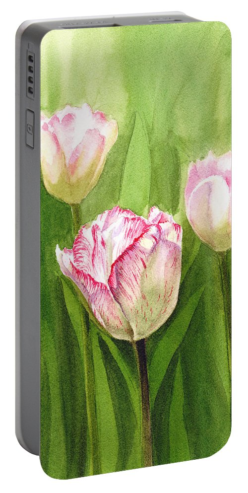 Tulip Portable Battery Charger featuring the painting Tulips In The Fog by Irina Sztukowski