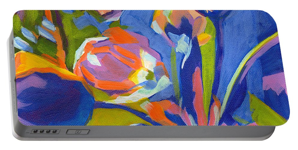Tanya Filichkin Portable Battery Charger featuring the painting Tulip Variations by Tanya Filichkin