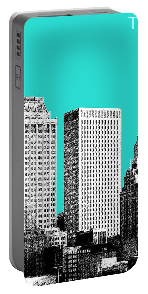 Architecture Portable Battery Charger featuring the digital art Tulsa Skyline - Aqua by DB Artist