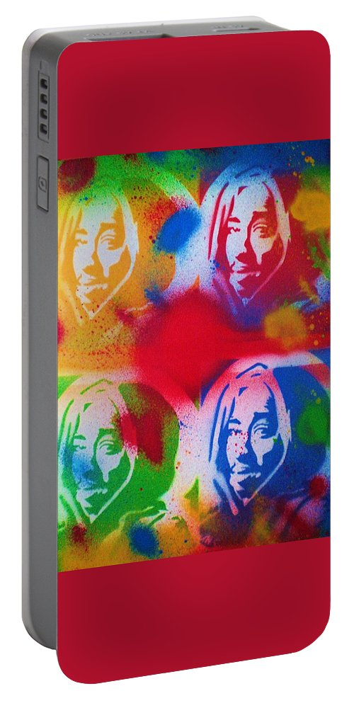 Tupac V Warhol Painting On Canvas Portable Battery Charger featuring the painting Tupac V Warhol by Leon Keay