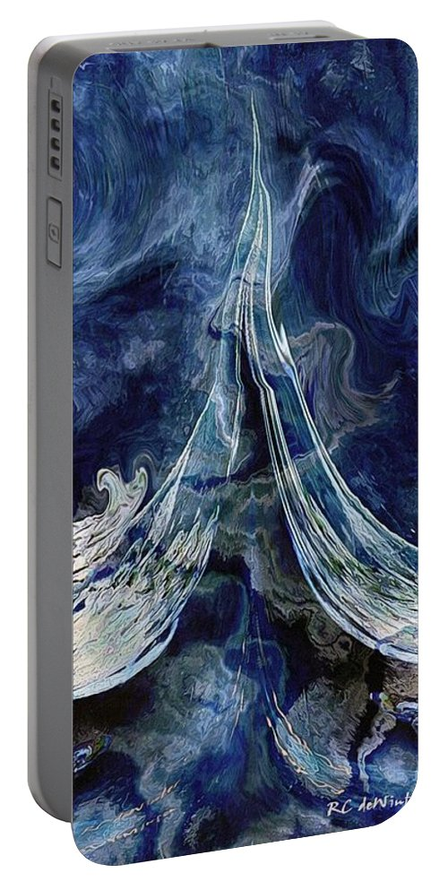 Waves Portable Battery Charger featuring the painting Turbulent Sea by RC DeWinter