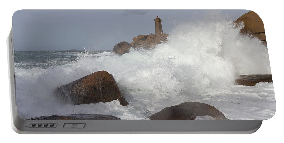 Wave Portable Battery Charger featuring the photograph Turbulent Waters by Heiko Koehrer-Wagner