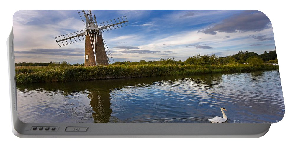 Travel Portable Battery Charger featuring the photograph Turf Fen Drainage Mill by Louise Heusinkveld