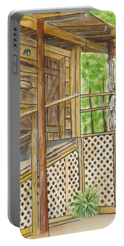 Bluegrass Music Turkey Track Festival Waldron Arkansas Watercolor Stage Musicians Entrance Charity Raffle Portable Battery Charger featuring the painting Turkey Track Musicians Entrance 2014 by Carol Blackhurst