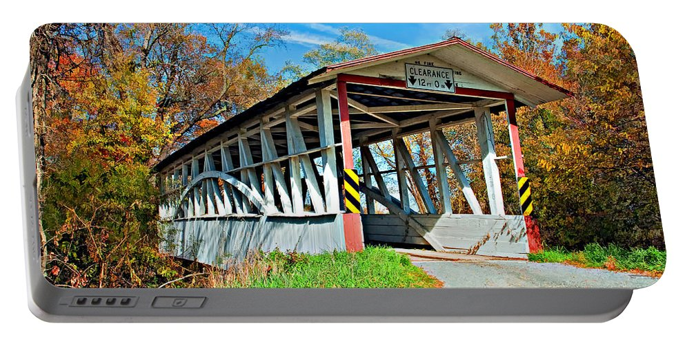 Turner's Covered Bridge Portable Battery Charger featuring the photograph Turner's Covered Bridge by Steve Harrington