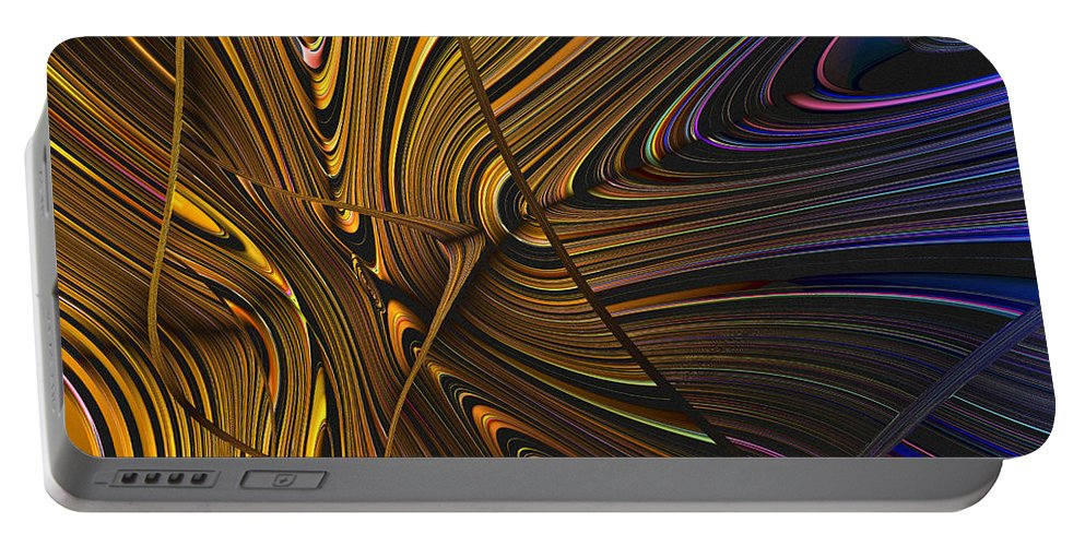 Abstract Portable Battery Charger featuring the digital art Turning Cold by Judi Suni Hall