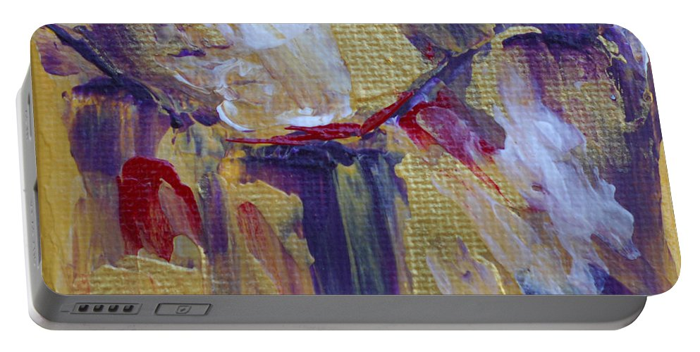 Bold Abstract Portable Battery Charger featuring the painting Turning To Gold by Donna Blackhall