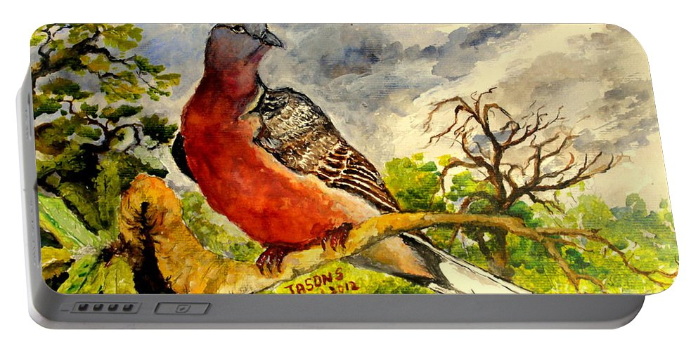 Bird Portable Battery Charger featuring the painting Turtle - Dove by Jason Sentuf