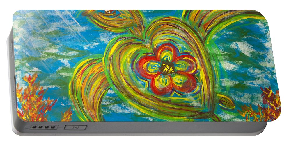 Seaturtle Portable Battery Charger featuring the painting Turtle Love by Susan Cliett