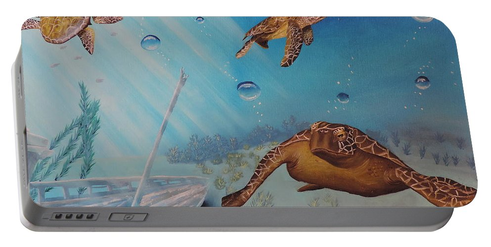 Ocean Portable Battery Charger featuring the painting Turtles At Sea by Dianna Lewis