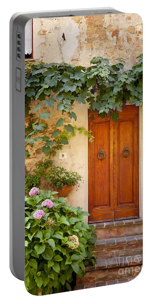 Wood Portable Battery Charger featuring the photograph Tuscan Door by Brian Jannsen