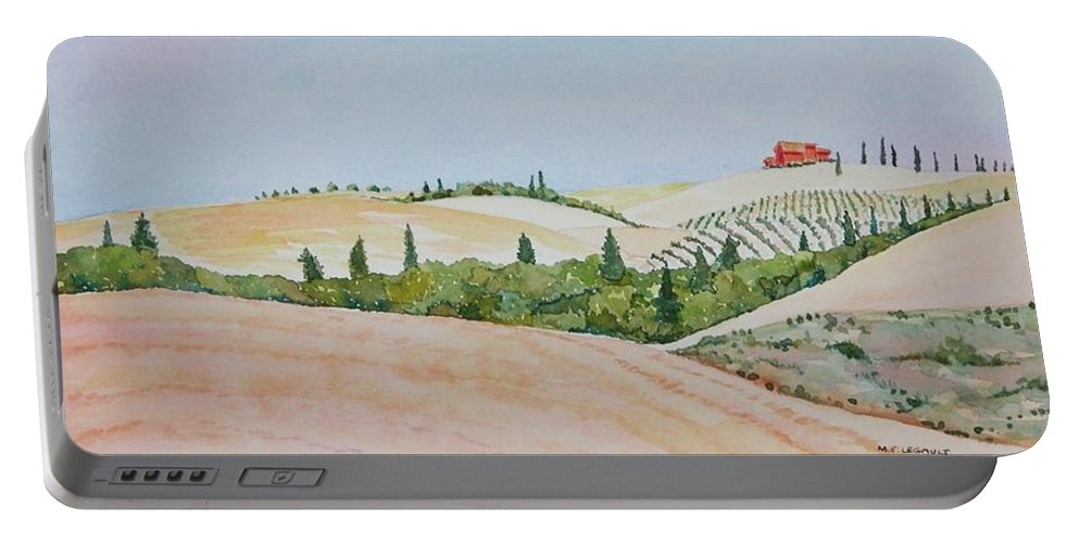 Landscape Portable Battery Charger featuring the painting Tuscan Hillside One by Mary Ellen Mueller Legault