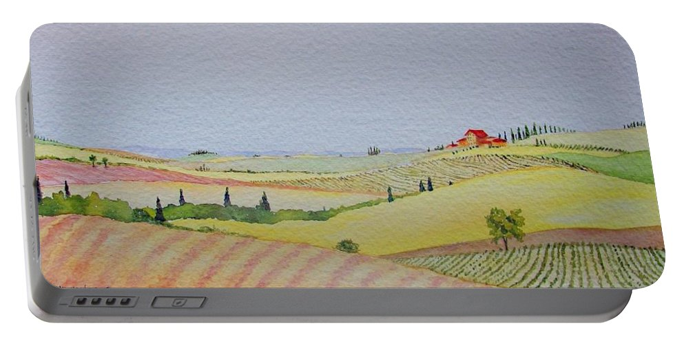 Watercolor Portable Battery Charger featuring the painting Tuscan Hillside Three by Mary Ellen Mueller Legault