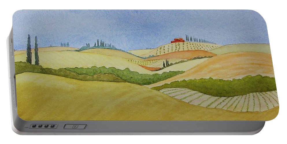 Italy Portable Battery Charger featuring the painting Tuscan Hillside Two by Mary Ellen Mueller Legault