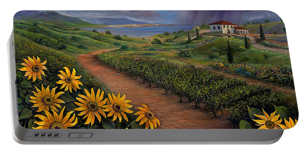 Sunflower Portable Battery Charger featuring the painting Tuscan Landscape by Claudia Goodell
