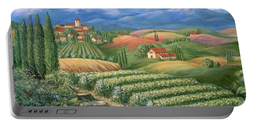 Wine Portable Battery Charger featuring the painting Tuscan Vineyard And Village by Marilyn Dunlap