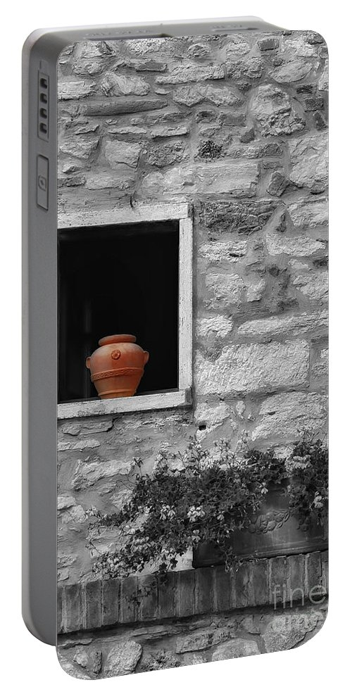 Tuscany Portable Battery Charger featuring the photograph Tuscan Window And Pot Bw And Color by Mike Nellums
